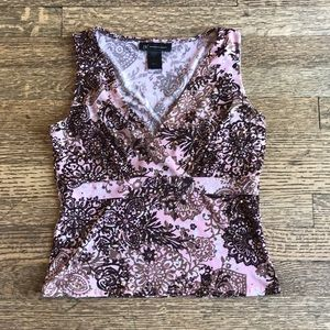 INC pretty print sleeveless top with sequins